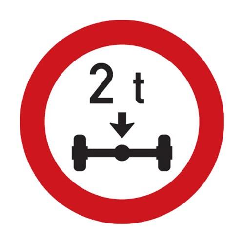 Dopravní značka - Zákaz vjezdu vozidel, jejichž okamžitá hmotnost připadající na nápravu přesahuje vyznačenou mez