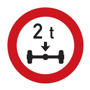 Dopravní značka B14 - Zákaz vjezdu vozidel, jejichž okamžitá hmotnost připadající na nápravu přesahuje vyznačenou mez