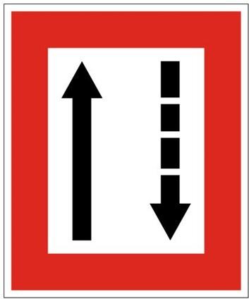 Plavební znak B3a - Příkaz přidržovat se strany plavební dráhy, která je po levém boku