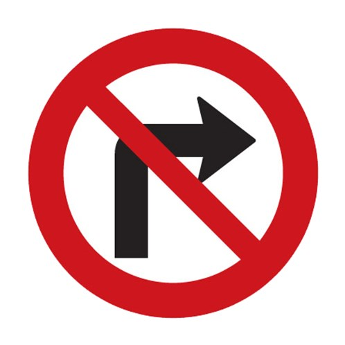 Dopravní značka - Zákaz odbočování vpravo