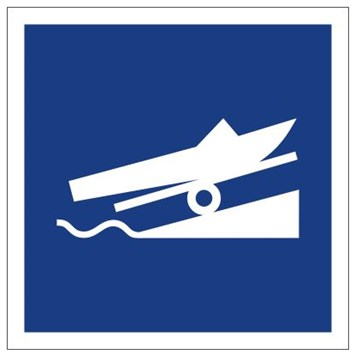 Plavební znak E22 - Doporučené místo ke spouštění plavidel na vodu