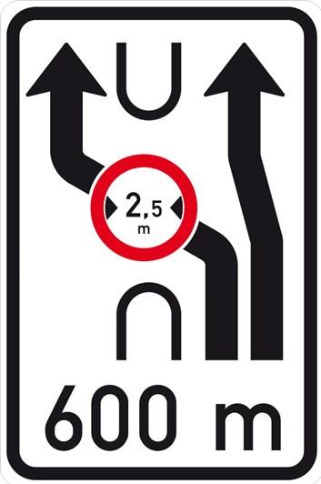 Dopravní značka IS10d - Návěst změny směru jízdy s omezením