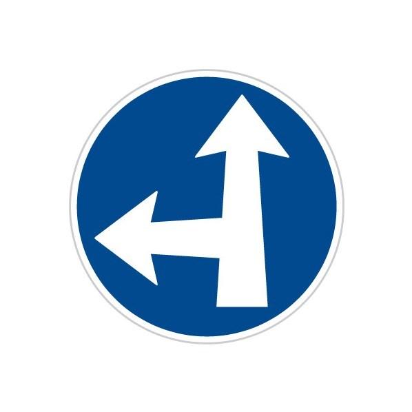 Přikázaný směr jízdy přímo a vlevo