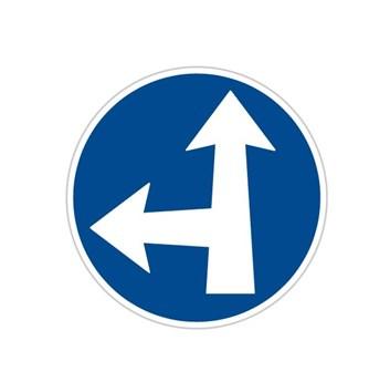 Dopravní značka C2e - Přikázaný směr jízdy přímo a vlevo