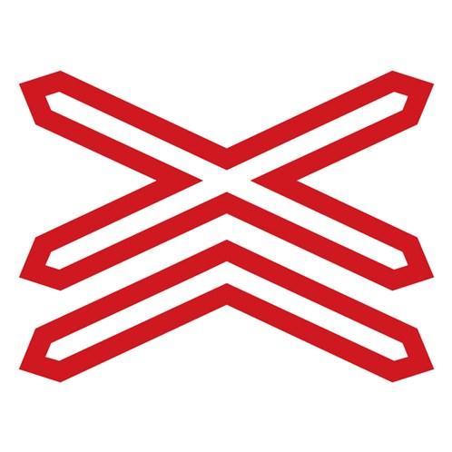Doravní značka - Výstražný kříž pro železniční přejezd vícekolejný, 700x90mm