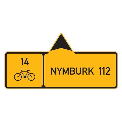 Dopravní značka - Informativní kategorie - Směrová tabule pro cyklisty (s jedním cílem),  IS19a, 700 x 200mm