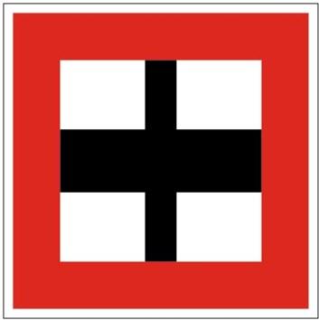 Plavební znak B9b - Povinnost před vplutím na hlavní vodní cestu nebo před jejím křížením