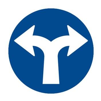 Dopravní značka C2f - Přikázaný směr jízdy vpravo a vlevo