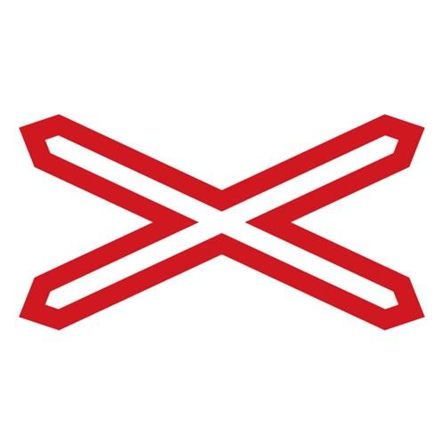 Doravní značka - Výstražný kříž pro železniční přejezd jednokolejný,  700x90mm