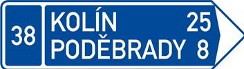 Dopravní značka IS3d - Směrová tabule (s dvěma cíli)