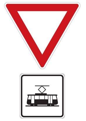 Dopravní značka P5 - Dej přednost v jízdě tramvaji!