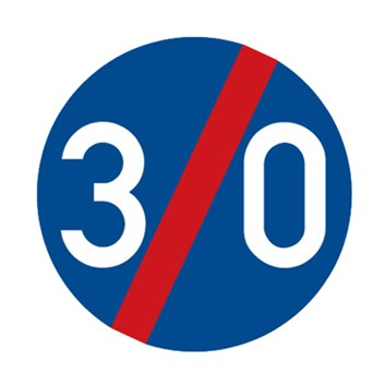 Dopravní značka C6b - Konec nejnižší dovolené rychlosti