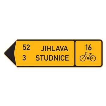 Cyklo značka IS19d - Směrová tabule pro cyklisty (s dvěma cíli)
