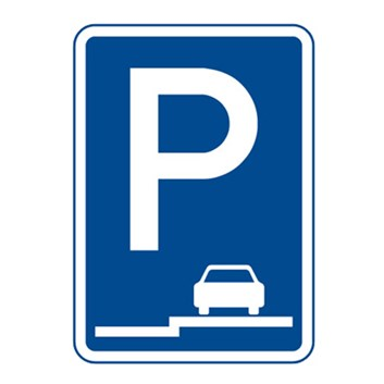 Dopravní značka IP11e - Parkoviště (stání na chodníku podélné)