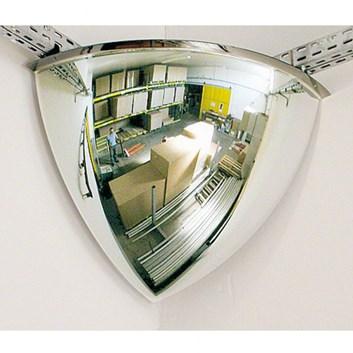 Interiérové kontrolní zrcadlo parabolické  1/8 koule rohové na zeď,