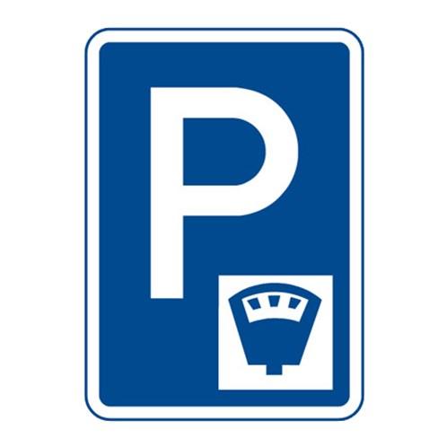 Dopravní značka - Parkoviště s parkovacím automatem, 500 x 700mm