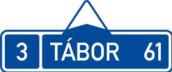Dopravní značka IS3a - Směrová tabule (s jedním cílem)