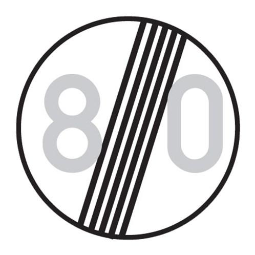 Dopravní značka - Zákazová - Konec nejvyšší dovolené rychlosti, B20b