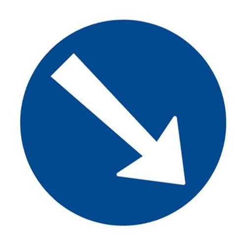 Dopravní značka - Příkazová - Přikázaný směr objíždění vpravo