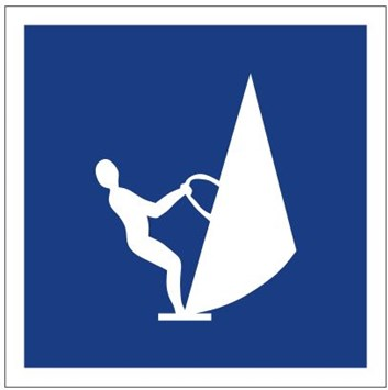 Plavební znak E20 - Plavba na plovácích s plachtou (windsurfech) povolena