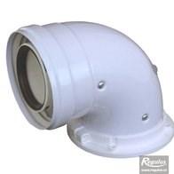 odkouření kondenzační Regulus - koleno s přírubou, s odběry, otočné 60/100 PP/plech
