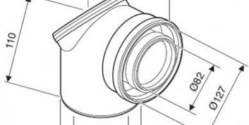 JUNKERS odtah AZB 938 - koleno 90° s revizním otvorem 80/125mm - (7719003382)