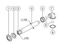 odkouření Protherm sestava vodorovná 60/100 mm, 0,75 m (S5D-750) - plyn. TURBO kotle