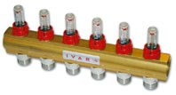 """IVAR - rozdělovač s regulačním šroubením a průtokoměrem IVAR.CI 553 VP -6- 1""""xEK"""