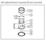 odkouření Protherm díl zakončovací souosý 60/100 mm (DZ1D) - plyn. TURBO kotle