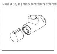 odkouření Protherm T-kus 80/125 mm, 87° s kontr. otvorem (0020214161)