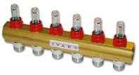 """IVAR - rozdělovač s regulačním šroubením a průtokoměrem IVAR.CI 553 VP -12- 5/4""""xEK"""