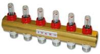 """IVAR.CI 553 VP -12- 5/4""""xEK, rozdělovač s reg. šroubením a průtokoměrem (502542)"""