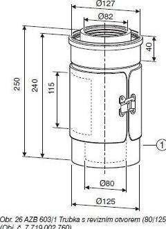JUNKERS odtah AZB 603/1 - trubka s revizním otvorem 0/125 - (7719002760)