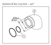 odkouření Protherm koleno souosé 80/125, 45° (K211M)
