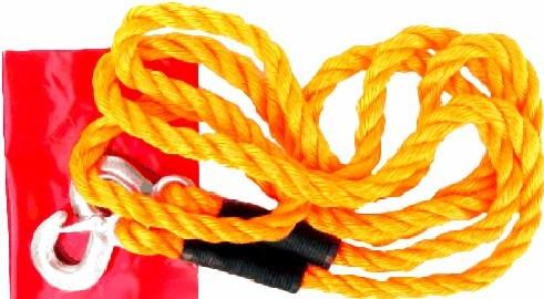 Tažné lano nosnost do 5000 Kg (5 tun) s háky z kovu a praporkem