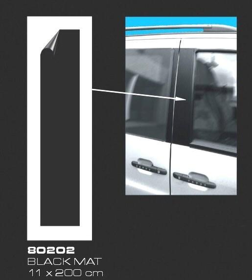 Fólie na sloupky dveří a prahy auta černá silná matná 11x300cm