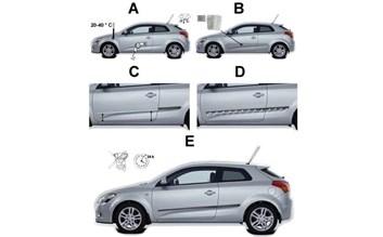 Kvalitní samolepící lišty na ochranu bočních dveří VW Up! 5dv od r.v. 2012