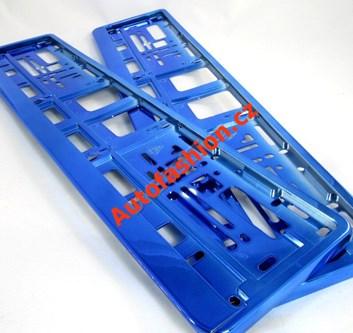 Metalízové modré podložky pod SPZ, rámečky pro SPZ lesklé 2 kusy