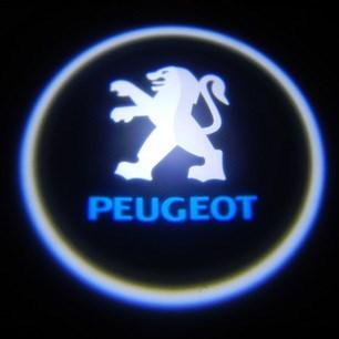 Svítící LED logo projektor PEUGEOT  ze dveří na silnici, sada 2 ks