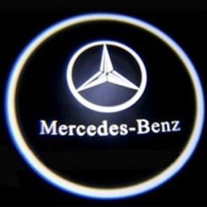 Svítící LED logo projektor MERCEDES  ze dveří na silnici, sada 2 ks