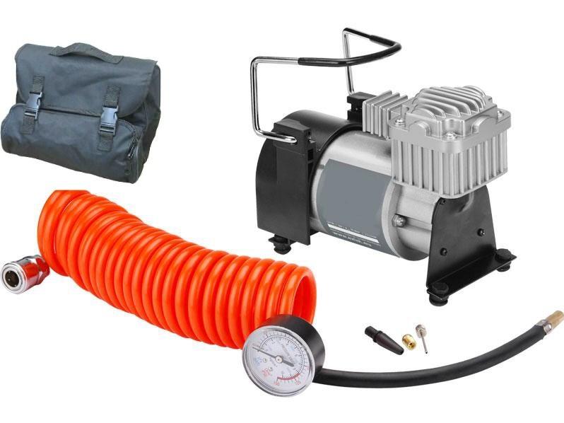 Kompresor do auta 12V s měřákem, adaptéry, hadicí, v tašce