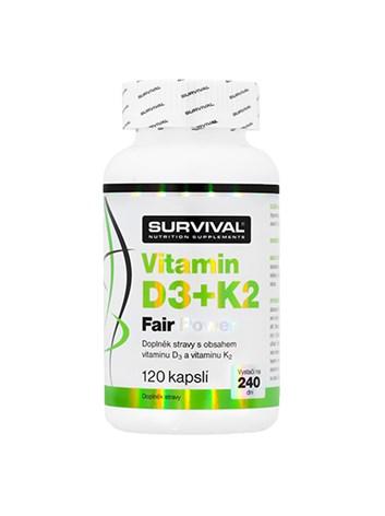 Survival Vitamin D3+K2 Fair Power 120 cps
