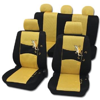 Autopotahy na celé auto univerzální černo-žluté s Ještěrkou