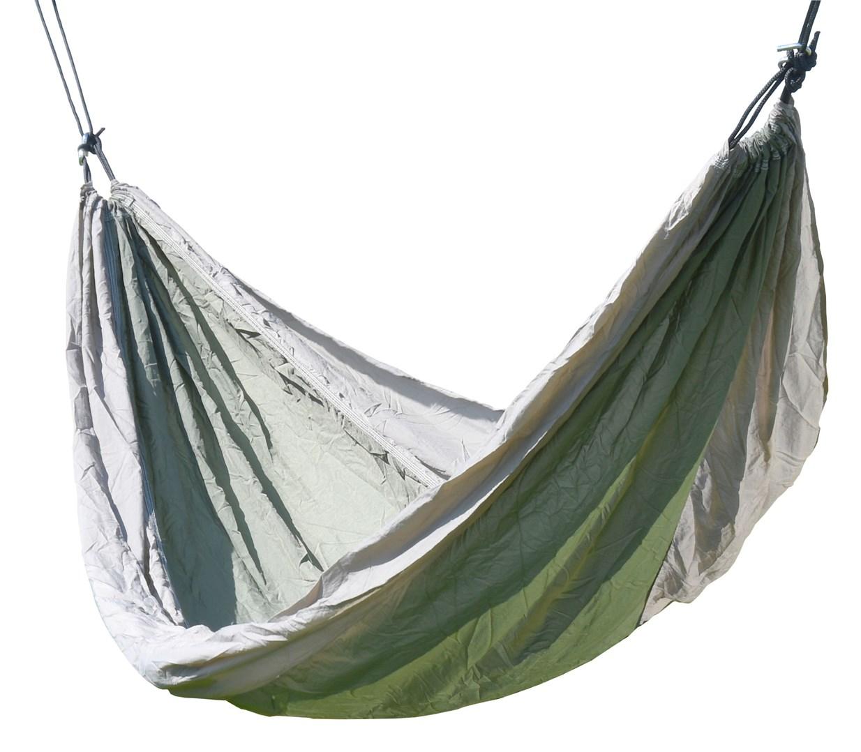Houpací síť zeleno-hnědá NYLON 275x137cm