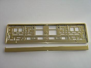 Podložka pod SPZ, rámeček pro SPZ, zlatá lesklá chrom 1ks