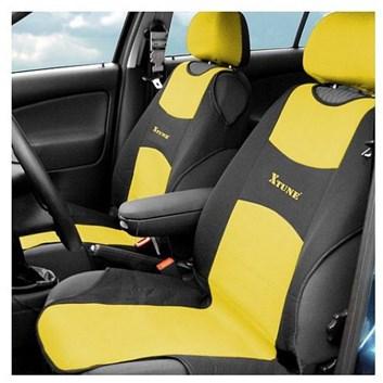 Autopotahy TRIKO přední žluté s černou Premium sada