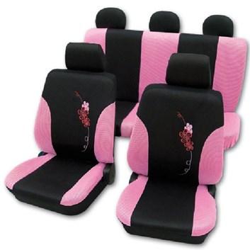 Autopotahy na celé auto univerzální černo-růžové s Květy kytek
