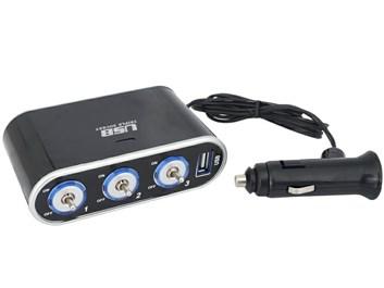Roztrojka do auta na 3x 12V s USB nabíječkou a vypínačí
