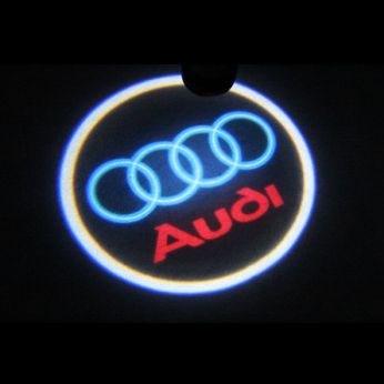 Svítící LED logo projektor AUDI ze dveří na silnici, sada 2 ks