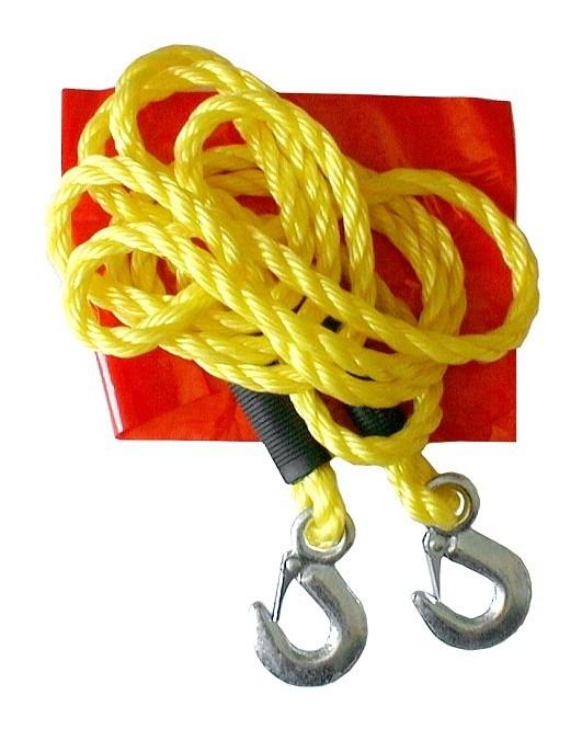 Tažné lano nosnost do 3000 Kg (3 tuny) s háky z kovu a praporkem
